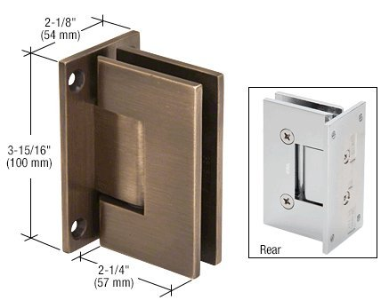 CRL Vienna 037 Series Antique Bronze Wall Mount Shower Door Hinge with Internal 5 Degree Pin