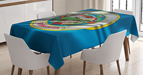 American Decor Tablecloth by Ambesonne, Minnesota Flag Flying Wreath of the Lady Slipper the State Flower State History , Dining Room Kitchen Rectangular Table Cover, 60 X 90 Inches