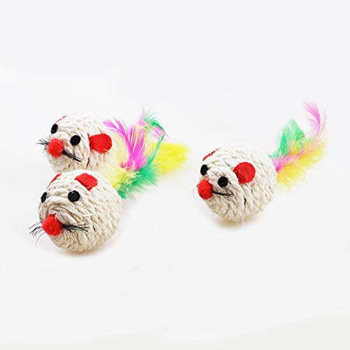 Amazon.com : Best Quality 3pcs/Set Natural sisal mice Ball cat Toy Feather sisal Rope Mouse Rattle Scratcher Catcher Toys : Pet Supplies