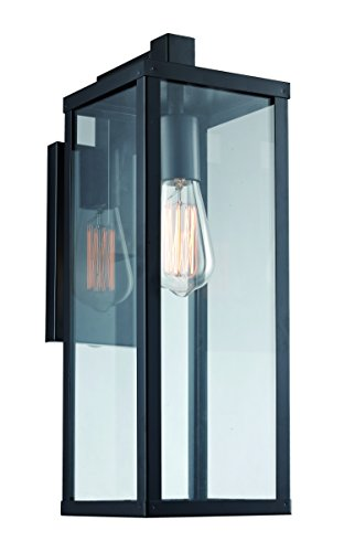 Trans Globe Lighting 40751 BK Oxford Industrial Wall Lantern, 17.75