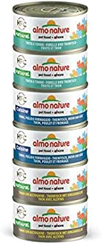 Almo Nature Multi Pack – Atún, Pollo y Queso, Atún y Trucha y Atún 6 latas de 70 g