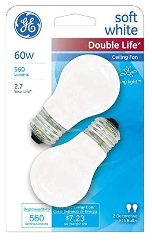 GE 60 Watt 2-Pack Ceiling Fan Light Bulbs