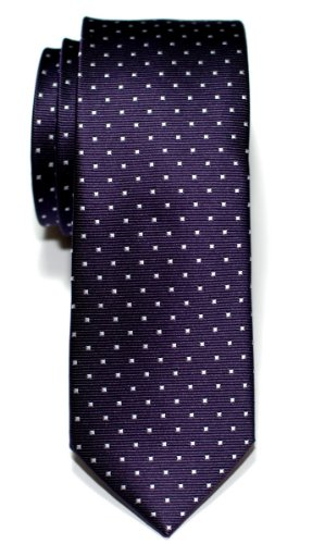 Retreez Pin Dots Woven Microfiber Skinny Tie - Purple with White Pin (Purple Skinny Tie)