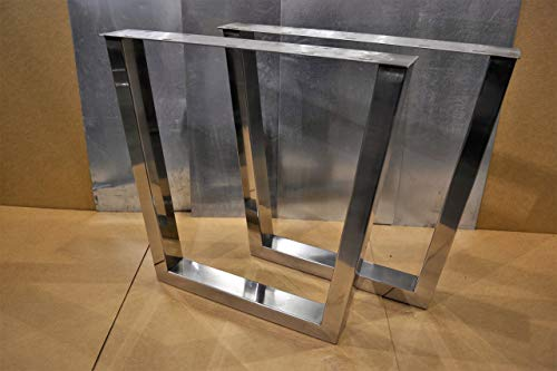 Polished Stainless Chrome Table Legs, Rectangular Tapered Style - Any Size