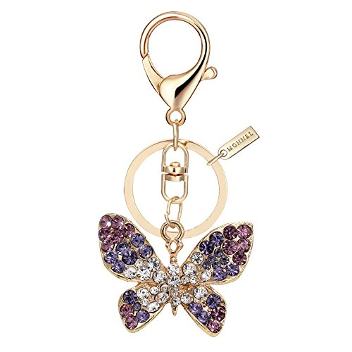 Bling Crystal Butterfly Design Keychain Creative Packaging Design Box MZ835-1 ()