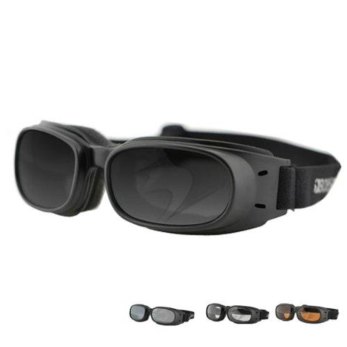 Zan Headgear Piston Men's Bobster Street Motorcycle Goggles - Black/Smoked Reflective