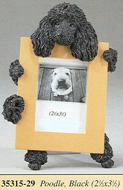 Poodle Frame (Black Poodle Picture Frame Holds Your Favorite 2.5 by 3.5 Inch Photo, Hand Painted Realistic Looking Poodle Stands 6 Inches Tall Holding Beautifully Crafted Frame, Unique and Special Poodle Gifts for Poodle Owners)
