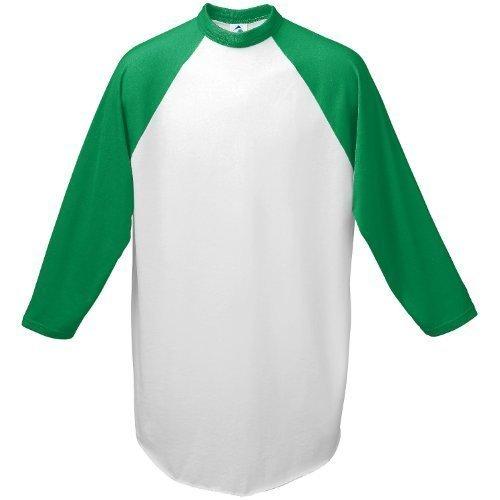 Augusta-Baseball Jersey Raglan 3/4 sleeves~White/Kelly Green~Adult-MD Augusta Baseball T-shirt