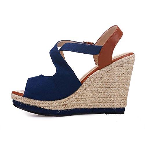 Sandales l'avant suédine Bleu à La en Brides à compensées croisées Modeuse 6wSBqO