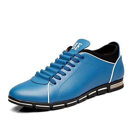 CUSTOME Hombre casual cuero PU Ata los zapatos zapatillas Azul