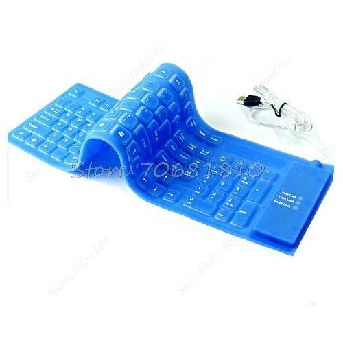 SAUJNN 109 Keys USB Silicone Rubber Waterproof Flexible Foldable Keyboard for PC Blue Drop Shipping