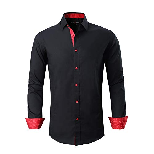 (Pagetoc Mens Casual Button Down Regular Fit Long Sleeve Oxford Shirts with Pocket Black Red)