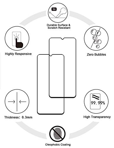 حافظة حماية إيزي لايف جو لهاتف أوبو A15 بمسند مع واقي شاشة من الزجاج المقسى [قطعتان]، حافظة هجين شديد التحمل مضادة للخدش بطبقة مزدوجة، أسود