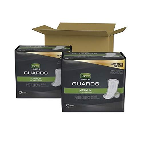 Depend Incontinence Guards for Men, Maximum Absorbency, 2 Packs of 52, 104 Total Count (Packaging May Vary) (2 case(104 ct))
