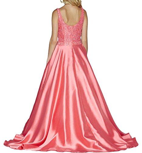 line lungo ressing ivyd tavolo Prom vestito Party Rosa donna perline sera A raso Festa abito abito Roman di qxxfwH