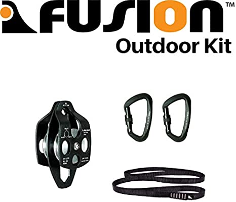 Fusion Climb Secura Double Aluminum Side Swing Pulley Black FP-8155-BLK
