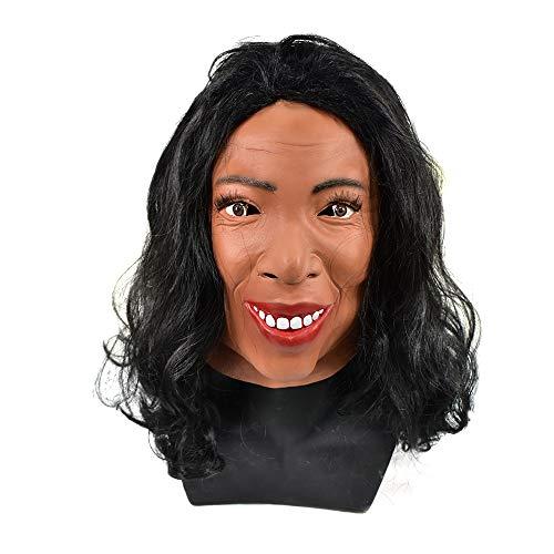 Realistic Human Head Latex Mask Crossdressing Female Mask Halloween Talk Show Party Fancy Dress Costume