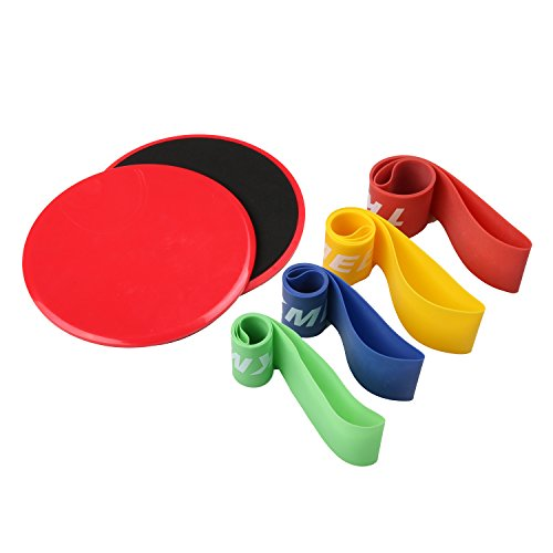 Gliding Discs Core Sliders and 4 Exercise Resistance Loop Bands, Lightweight Workout...
