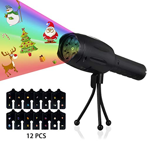 LED Projector Flashlight Slides,Gemwon Handheld Portable Music 12 Pattern Slides Plastic 2 in 1 Decoration Light & Flashlight with Tripod for Party,Halloween Birthday,Christmas,Children's Rooms etc. ()