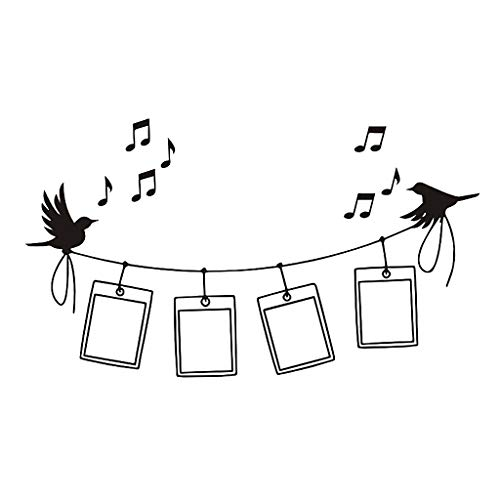 (Iusun Wall Stickers Creative Bird Music Photo Frame Pattern Wall Paper Mobile Removable Self-Adhesive Art Mural for Bedroom Living Room Restaurant Kids Nursery Kindergarten Mall Decoration)