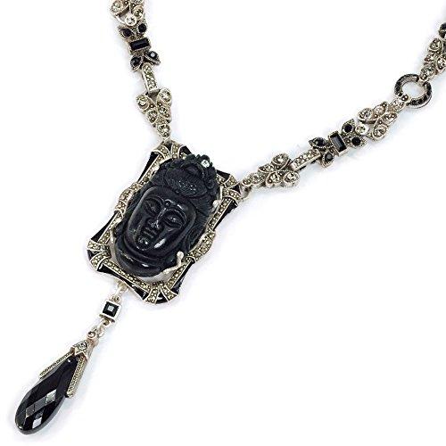 (Black Buddha Spiritual Art Deco Necklace   Zen Buddhist Yoga Meditation Jewelry)
