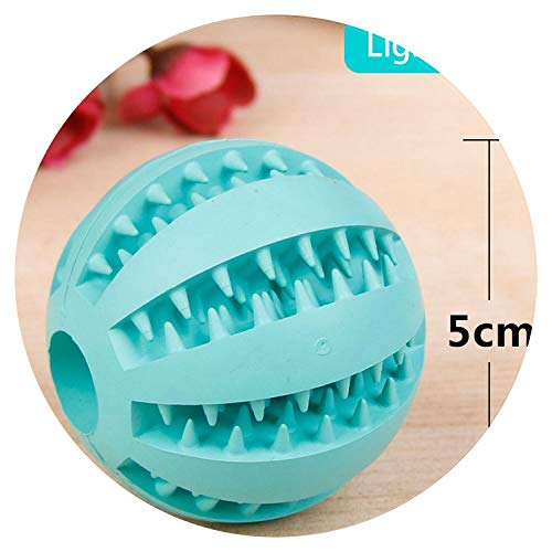 shine-hearty Rubber Ball Toy Pet Dog Toys Elasticity Ball Pet Chew Toys for Dog Cleaning Tooth Clean Ball Food,Light Blue,7cm in ()