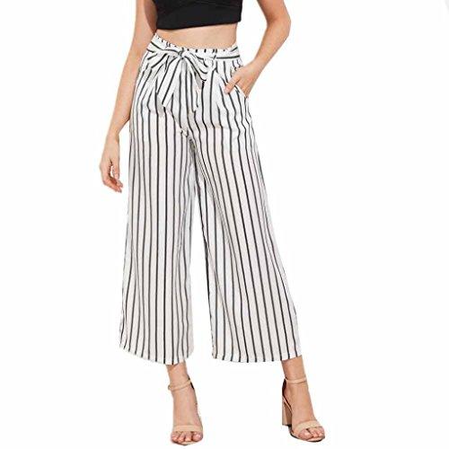 Napoo Women Hot Stripe Print Drawstring Bowknot High Waist Wide Leg Pants (M, White)