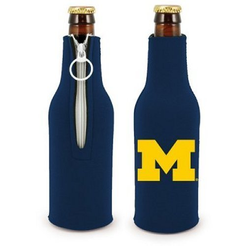 NCAA Michigan - Neoprene Bottle Suits (2) | Michigan Wolverines Bottle Insulators with Zipper - Set of (Michigan Wolverines Stocking)