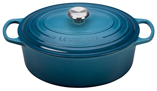 Blue Oval French Oven - Le Creuset Signature Enameled Cast-Iron 6.75 Quart Oval French (Dutch) Oven, Marine