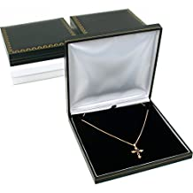 3 Black Leather Necklace Gift Box Jewelry Case Display