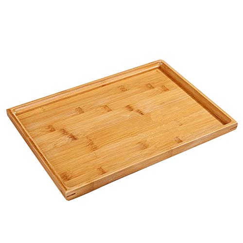 (SODIAL Wooden Serving Tray Kung Fu Tea Cutlery Trays Storage Pallet Fruit Plate Decoration 6 Sizes Japanese Food Bamboo Rectangular 37x26Cm )