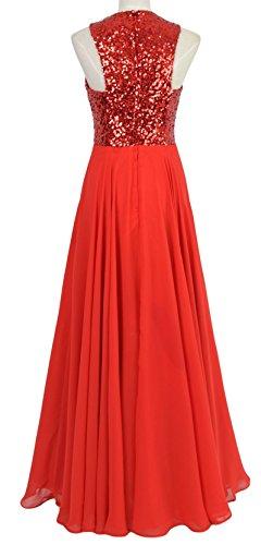 MACloth Women Sequin Chiffon Long Wedding Bridesmaid Dress Formal Evening Gown Morado