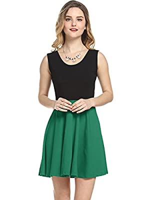 Amoretu Women Summer Sleeveless A-Line Dress Flared Casual Mini Skater Dresses