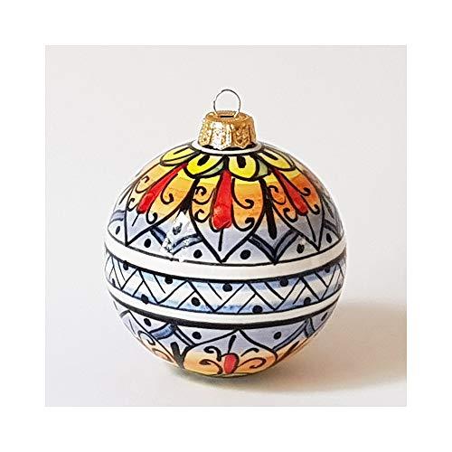 thatsArte Hand Painted Italian Ceramic 3-inch Christmas Ball Ornament