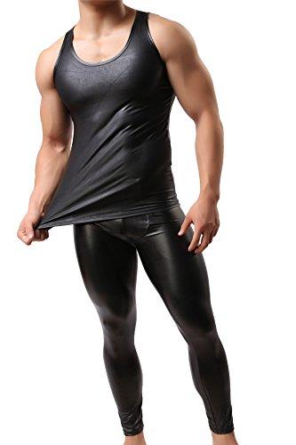 Men's Faux Leather Vest Undershirt Tank Top Sleeveless Shirt Waistcoats (XL) - Leather Tank