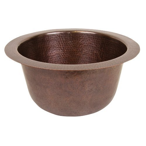 The Copper Factory CF158AN Solid Hand Hammered Copper 16-Inch Diameter Large Round Bar/Prep Sink, Antique Copper by The Copper Factory by The Copper Factory