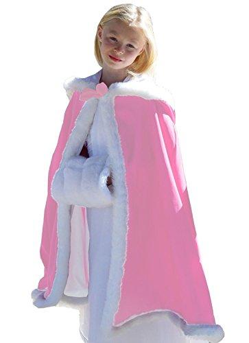 Flower Girl Winter Hooded Cloak Wedding Cap for Kids Party Cape Cristmas Wraps Pink XL (Cristmas Balls)