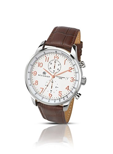 Accurist Men's Quartz Watch White Dial Chronograph Brown Leather Strap 7121
