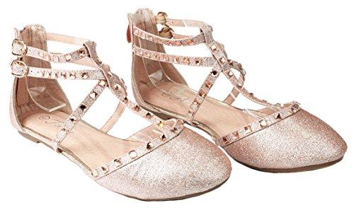 Designer Rivet Studded Pointed/Round Toe Dress Ballet Flat Shoes Champagne_B-61 99LbkMdH