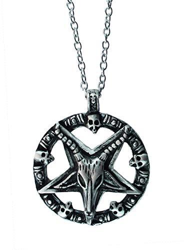 exoticdream Inverted Pentagram Samael Lilith Baphomet Satanic Sabbatic Goat Lucifer Wiccan Pewter Pendant (Goat Head +24