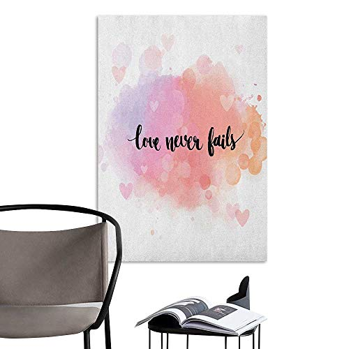 Wall Mural Wallpaper Stickers Love Dreamy Pastel Pinkish Colors Hearts Romantic Phrase About Love and Relationship Peach Lilac Black Stair Elevator Side W32 x H48 (Dreamy Nights Wall Border)