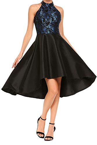 Retro Halter Floral Lace Cocktail Evening Party Dress Ball Gown Prom Dress(Black M) (Evening Gown Prom Ball Dress)