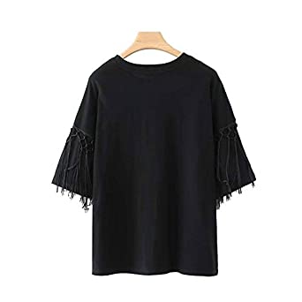 Amazon.com: Aabigale Pretty Women Fringe Tassel Loose Black T Shirt o Neck Short Sleeve Tees Ladies Fashion Oversized Casual Tops Camisetas: Clothing