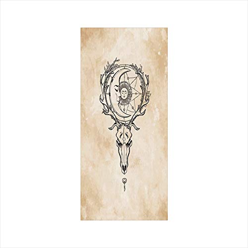 (Decorative Window Film,No Glue Frosted Privacy Film,Stained Glass Door Film,Vintage Old Paper Background with Deer Skull Antlers Moon and Star Hand Drawn Outline,for Home & Office,23.6In. by 47.2In Ta)
