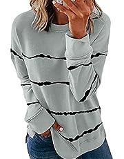 Famulily Women's Casual Color Block Crewneck Sweatshirts Long Sleeve Loose Pullover