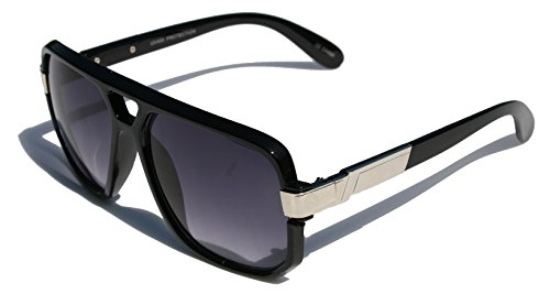 Classic Square Frame Plastic Flat Top Aviator with Metal Trimming Sunglasses (Gloss Black Silver, Black)