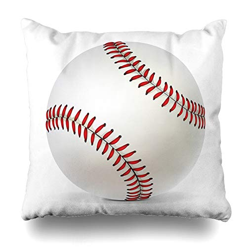 (Ahawoso Throw Pillow Cover Red Seam Baseball Ball White Sports Recreation Softball Base America American Leather Design Home Decor Pillow Case Square Size 20 x 20 Inches Zippered Pillowcase)