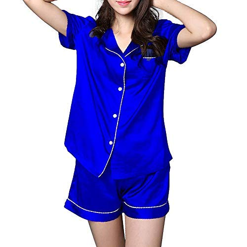 NANJUN Women's Satin Pajamas Sleepwear Short Button-Down Pj - Silky Satin Blue