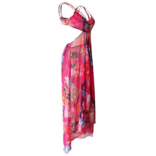 MagiDeal Mujer Florales Spaghetti Correa Beach Party Maxi Vestido Rosa