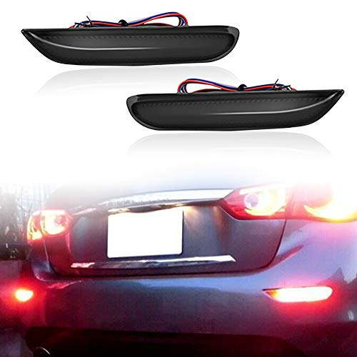 LED Rear Fog Lamps Bumper Reflector Strobe Brake Lighting Brake Tail Lights Turn Signal Lamps Kit For Infiniti Q50 QX56 QX60 QX80 Nissan Pathfinder Rogue (Black)